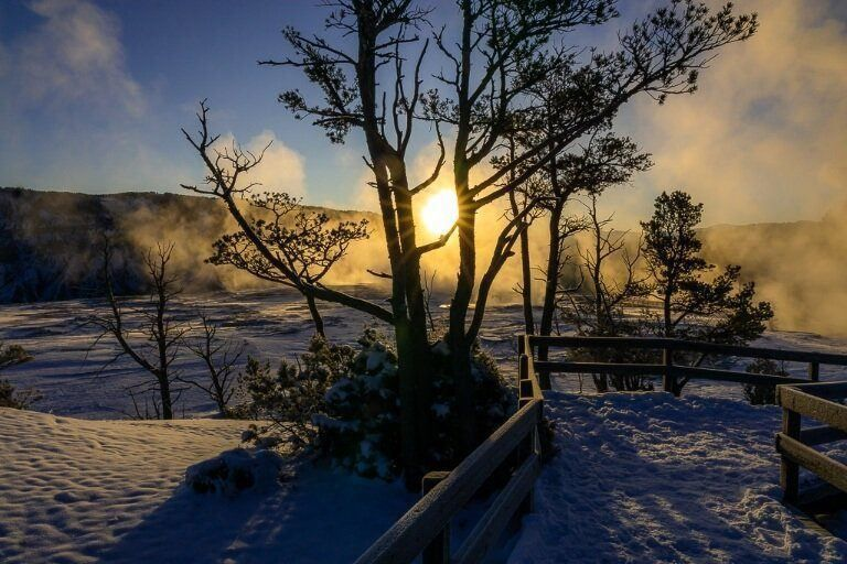 Snow and sunrise at mammoth hot spring