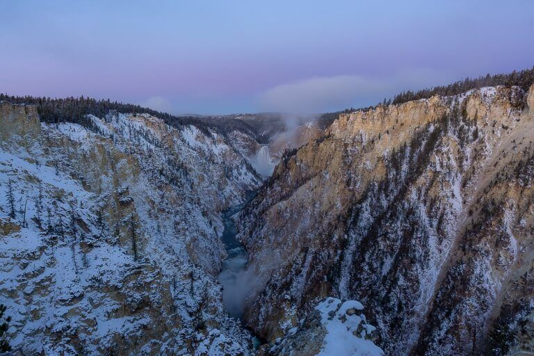 Yellowstone fall with purple sky on october morning at sunrise