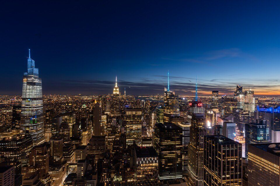 Top of the Rock has an incredible night view including the empire state building midtown and lower manhattan nyc