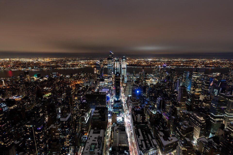Empire state building observation deck facing northwest at the edge and hudson yards for amazing night views and photography