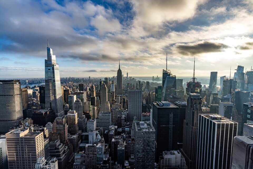 Top of the Rock observation deck best view during the day over Manhattan in NYC