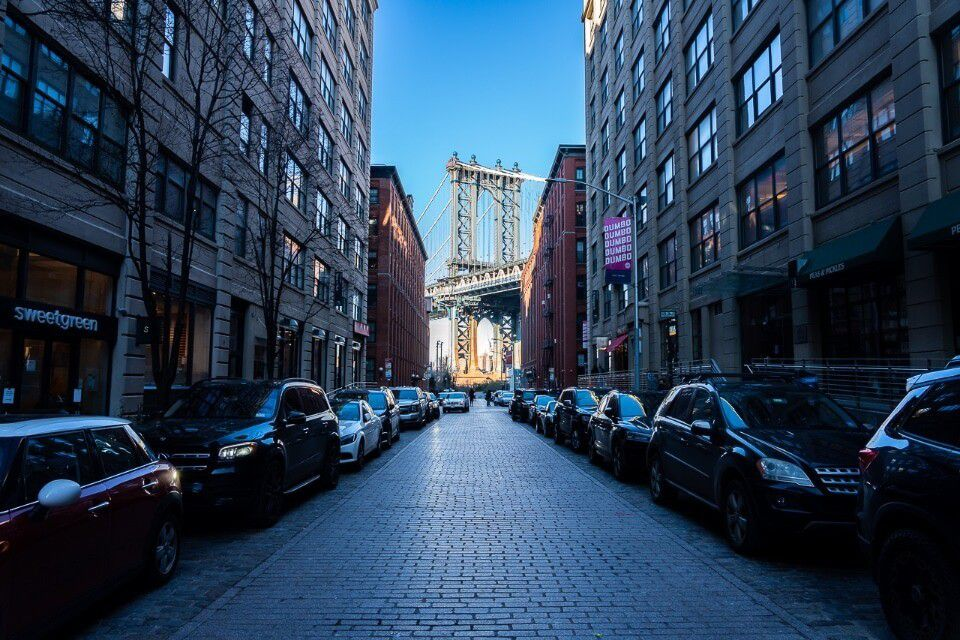Dumbo Brooklyn Washington Street with awesome Manhattan bridge at the end of the road nyc photography