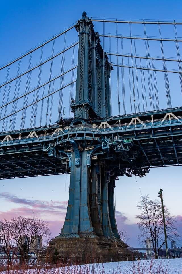 Steel column in New York City at dusk