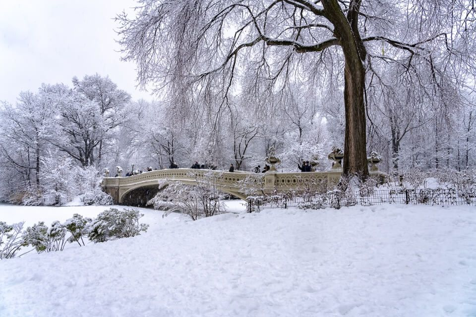 Bow Bridge covered in snow with frozen tree and wrapped up tourists crossing