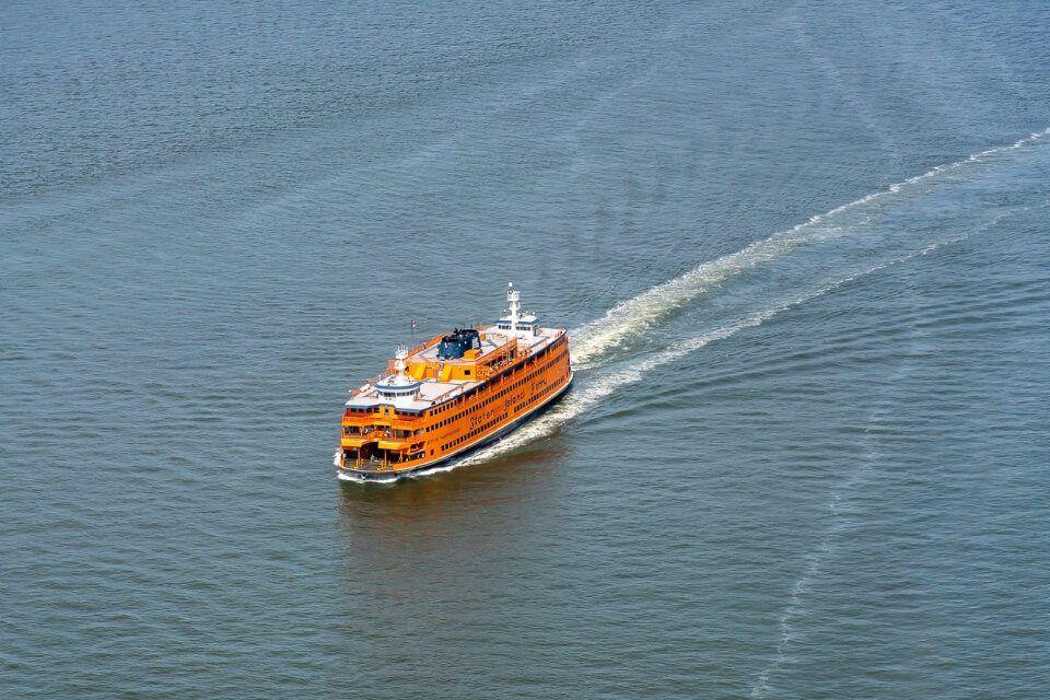 Huge orange ferry to staten island new york