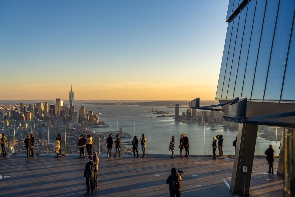 New York City observation deck at sunset
