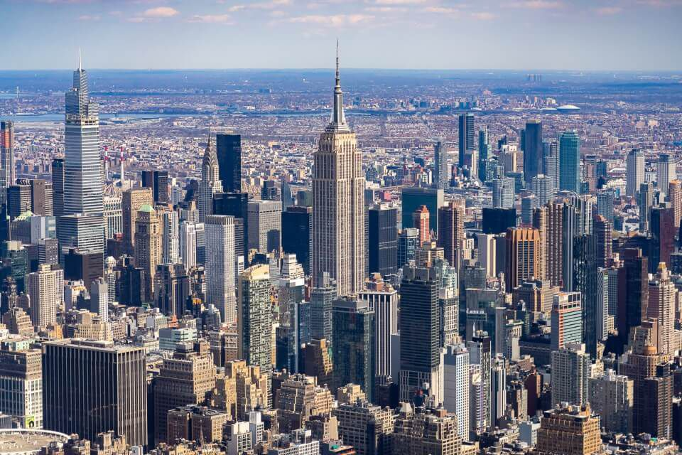 Empire State Building and Midtown Manhattan from Heli NY helicopter ride tour of NYC
