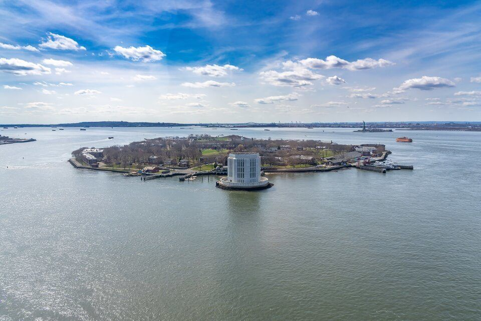Governors Island taken from a helicopter ride over New York City Heli NY NYC tour