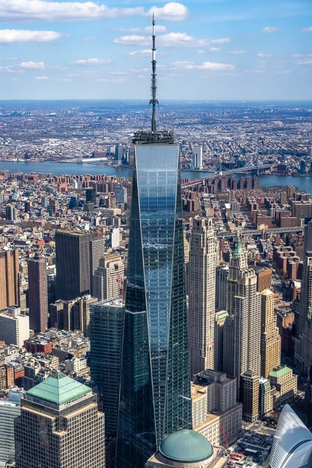 One World Trade Center dominating the lower manhattan skyline from above
