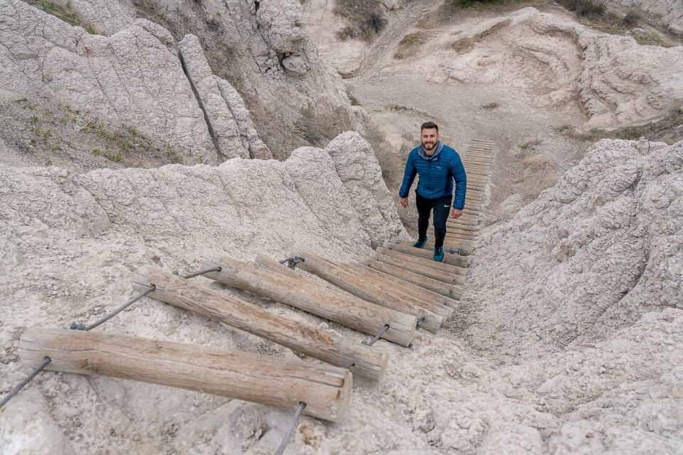 Where Are Those Morgans Mark climbing ladder on the awesome notch trail in badlands national park south dakota