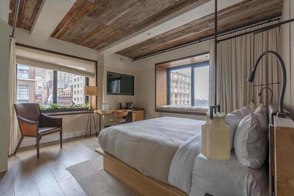 Where to stay in New York City Best Hotels Area and Neighborhood places to stay in NYC 1 Hotel central park stunning hotel room wooden finish
