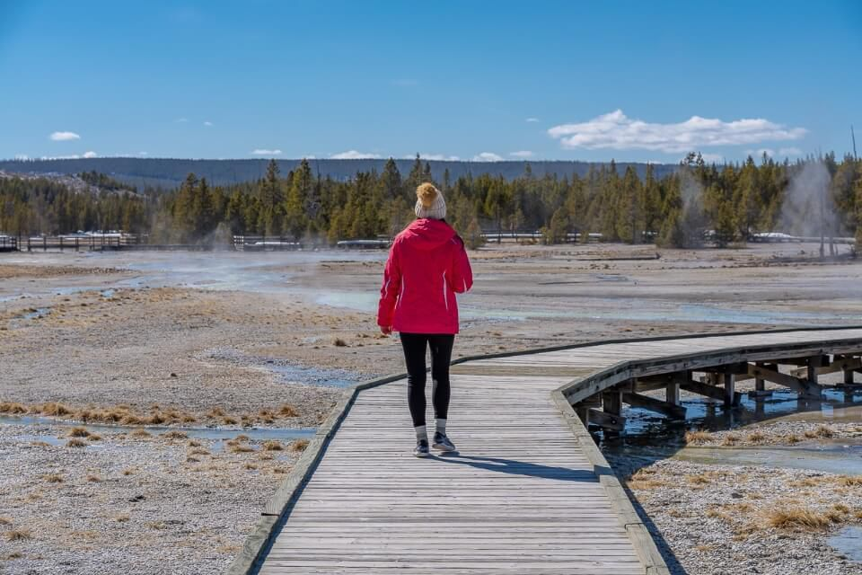 Where are those morgans walking on boardwalk over geysers and hot springs with trees and blue sky