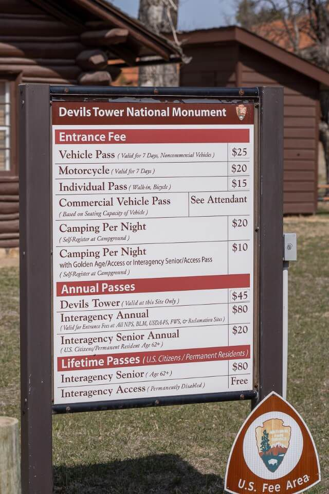 Entrance fee information board