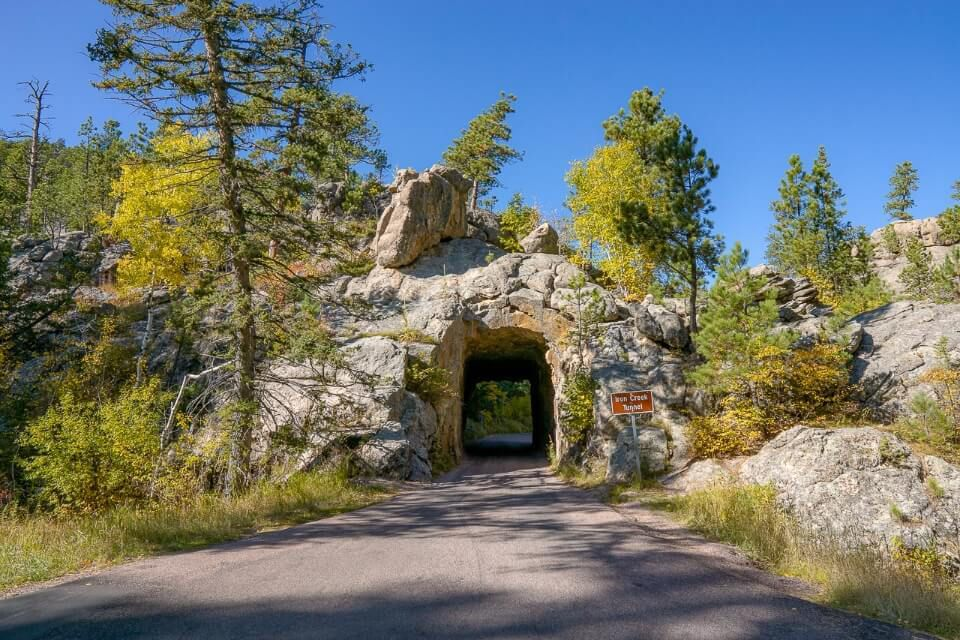 Tunnel on needles highway scenic byway in black hills south dakota