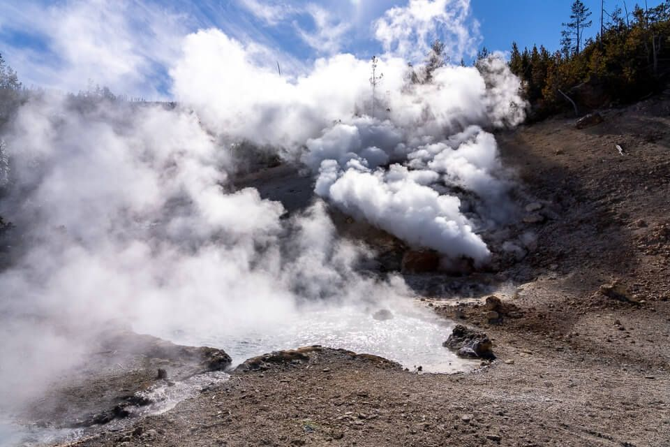Billowing hot steam venting out of super volcano in wyoming