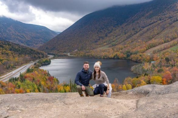 Artists Bluff Hiking Trail NH Franconia Notch State Park Fall Foliage Where Are Those Morgans Summit View Over Echo Lake New England Road Trip