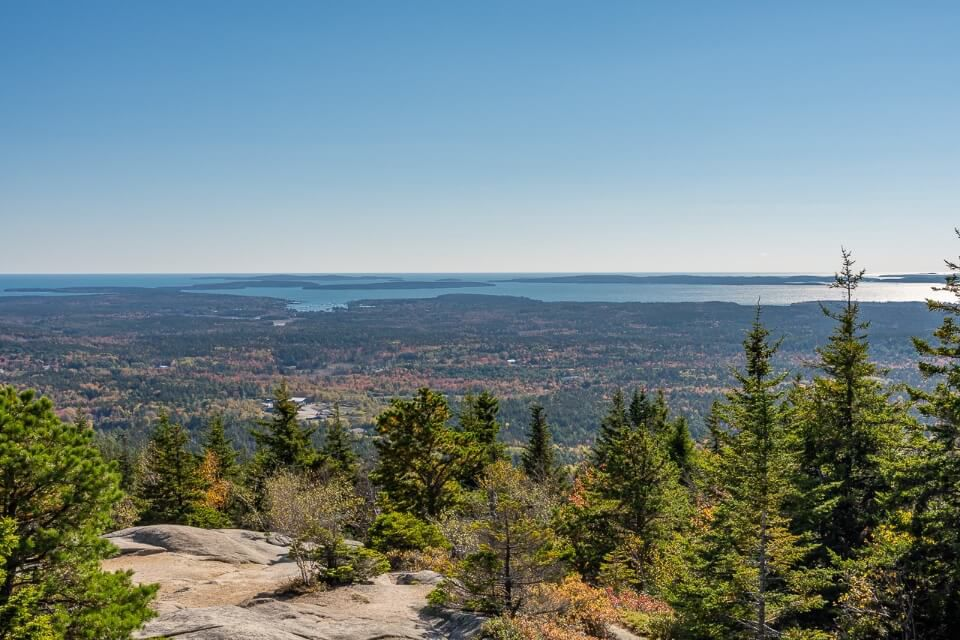 View over Maine from the summit of Cadillac Mountain one of the best hikes in acadia national park