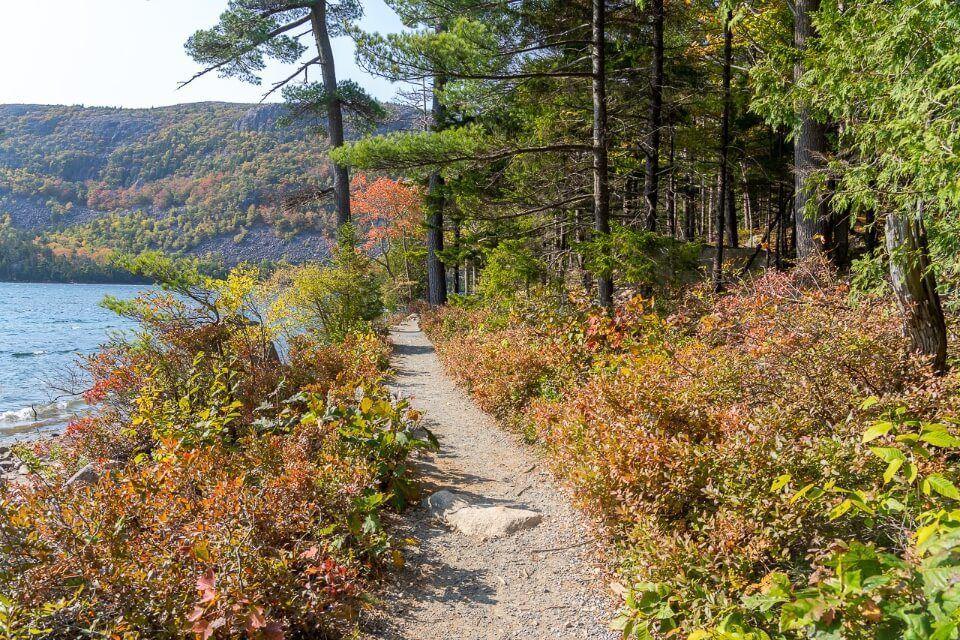 Stunning path alongside Jordan Pond colorful trees