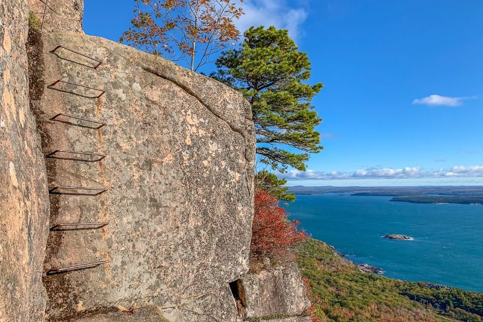 Precipice Trail is the most exhilarating and scary among the best hikes in acadia natinonal park ladder climbs with spectacular views
