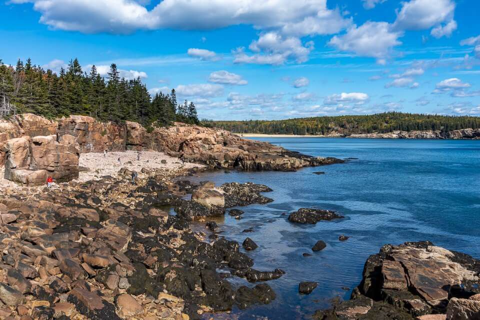 Rocks on a coastline with cloudy sky in maine