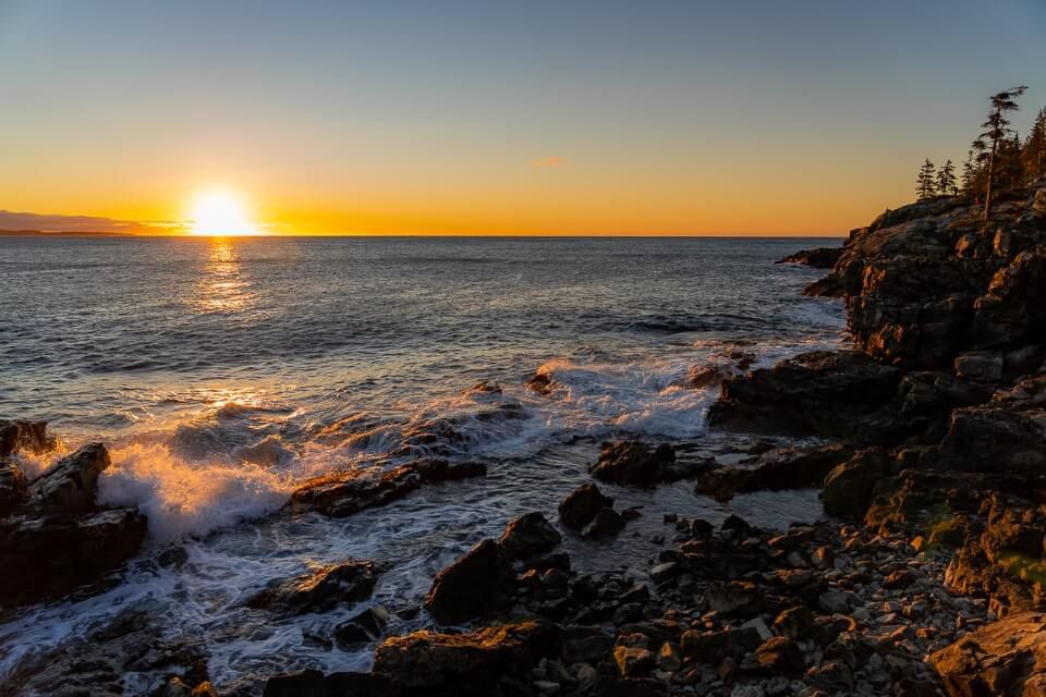 Beautiful Sunrise Schooner Head Cliffs by the ocean is one of the best things to do in acadia national park maine