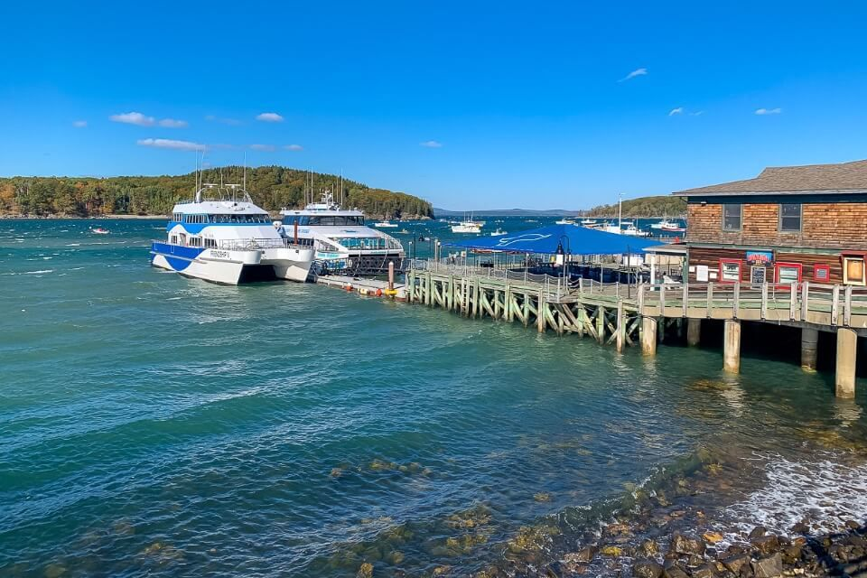 Boats at the end of pontoon in Bar Harbor Maine