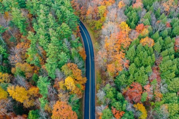 Kancamagus Highway road trip NH road cutting through colorful fall foliage forest stunning drone shot pemigewasset overlook Where Are Those Morgans