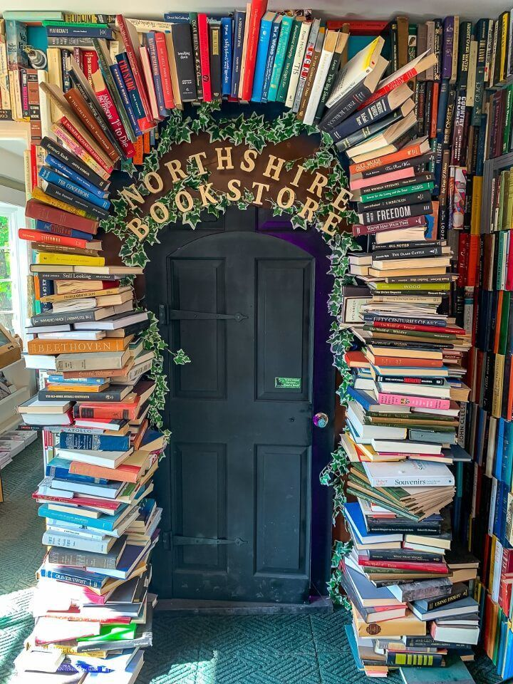 Northshire bookstore arched doorway made of books popular touristy stop in manchester VT