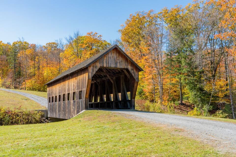 Covered Bridge in Vermont rural countryside stunning bridge and colors