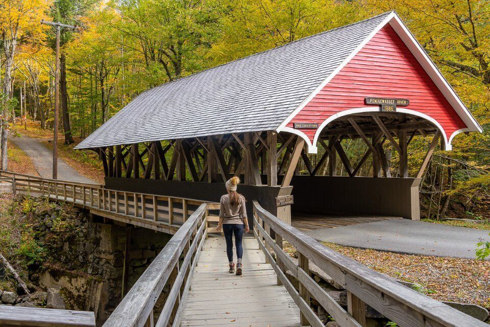 Flume Gorge Covered Bridge in New Hampshire Where Are Those Morgans walking across bridge