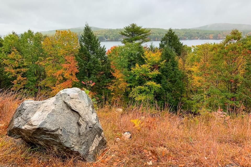 Lake Winnipesaukee in New Hampshire on a very dull rainy day in october