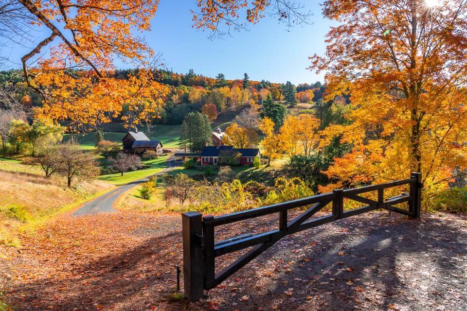 Sleepy Hollow Farm near Woodstock is one of the most stunning and photographed sports on a new england fall foliage road trip itinerary