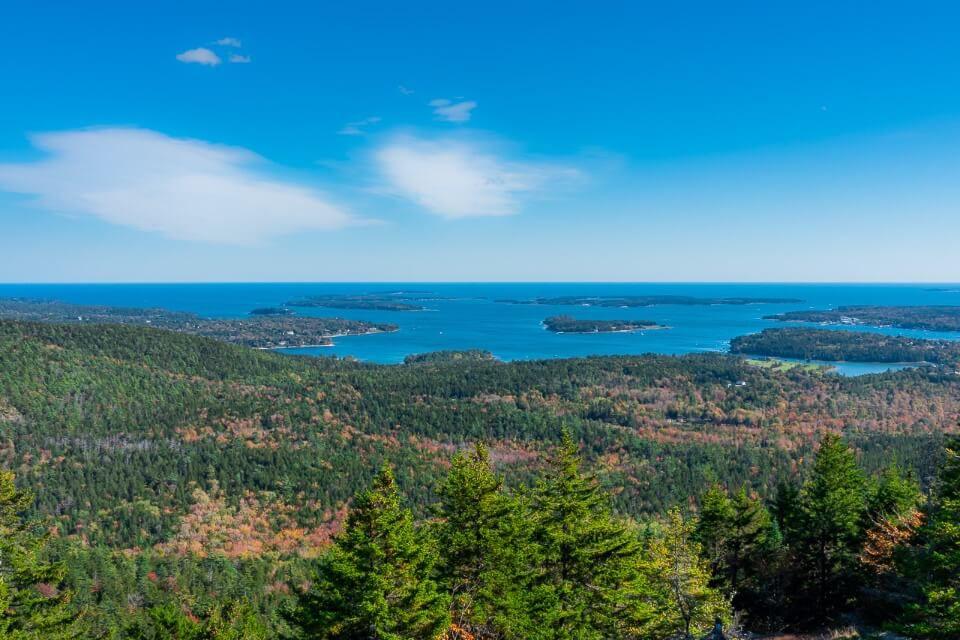 Mountain summit in Acadia National Park Maine Ocean Views