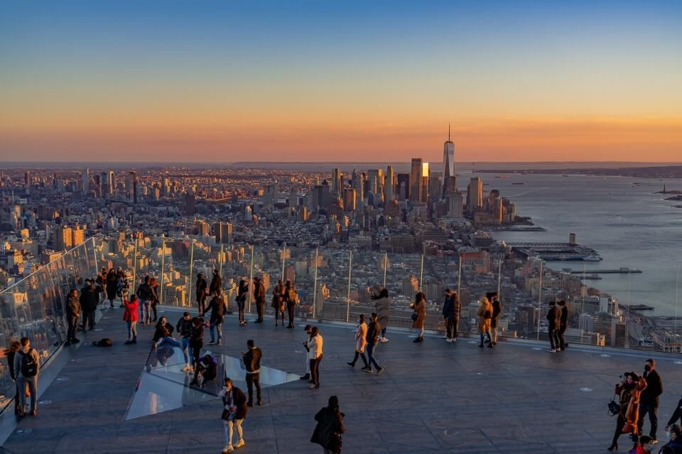 Sunset at the Edge in NYC observation decks are quiet during winter in new york city perfect for tourism