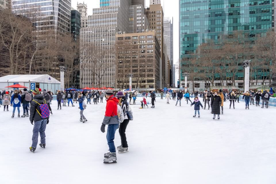 Bryant Park ice rink on a cold january day