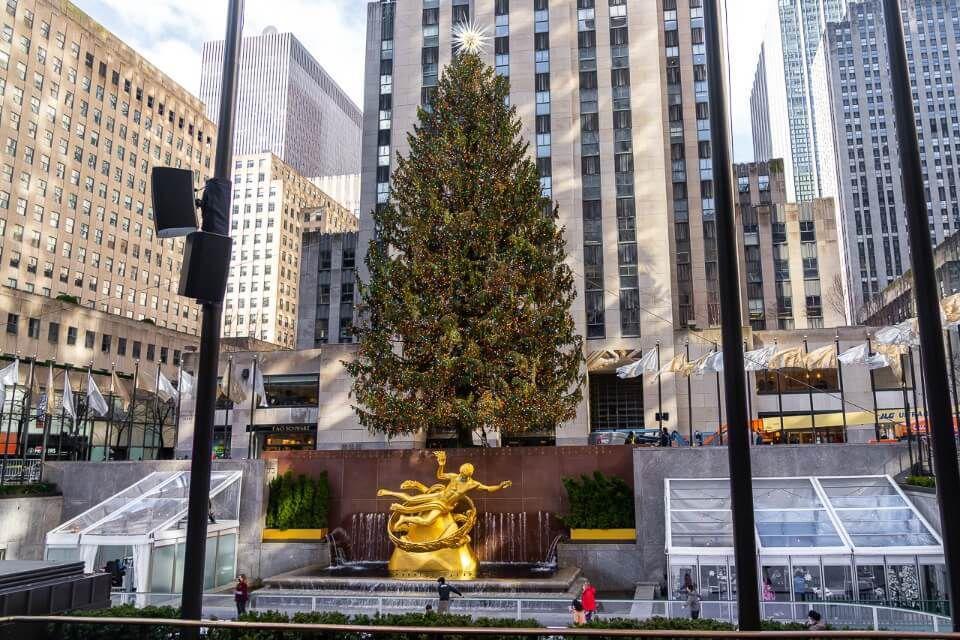 Rockefeller christmas tree outside rockefeller center with ice rink in january