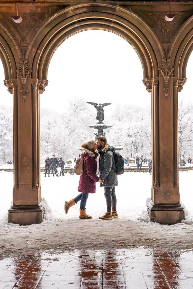 Where Are Those Morgans standing under an arch at Bethesda Terrace in New York City in Winter around Christmas Holidays