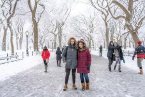 Where Are Those Morgans walking the Mall in Winter NYC snow locals and tourists out enjoying the New York City magical Central Park snow
