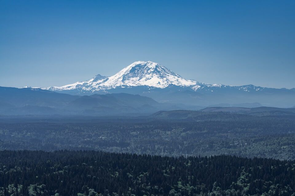 Awesome shot of Mt Rainier from the summit of poo poo point trail near seattle in washington