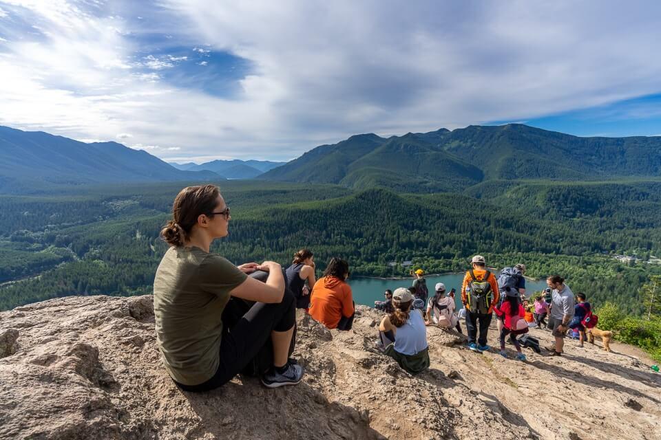 Hikers at the summit of rattlesnake ledge trail north bend washington