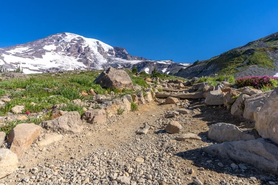 Close up of a footpath with volcano and blue sky
