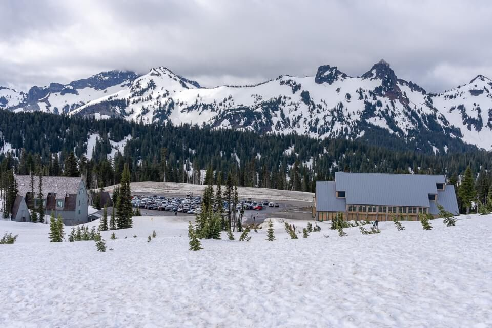 Parking lot and visitor center at national park in washington