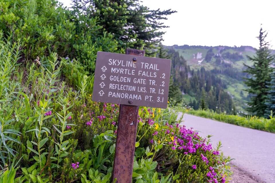 Skyline Trail sign anti clockwise to myrtle falls before sunrise at Mt Rainier national park in washington