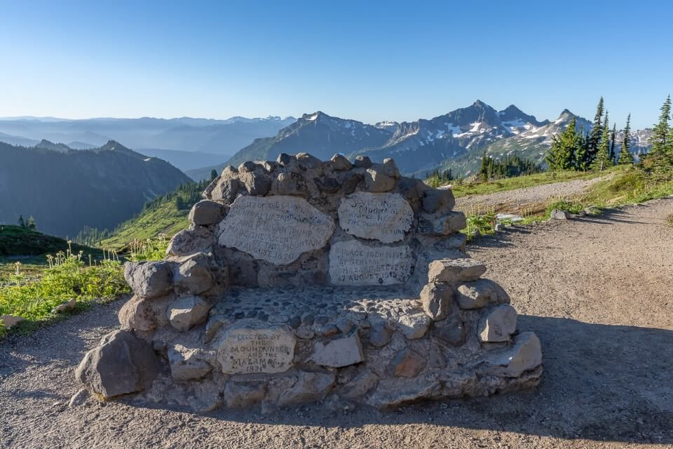 Stevens-Van Trump national monument on the hillside of skyline trail in mt rainier national park Washington
