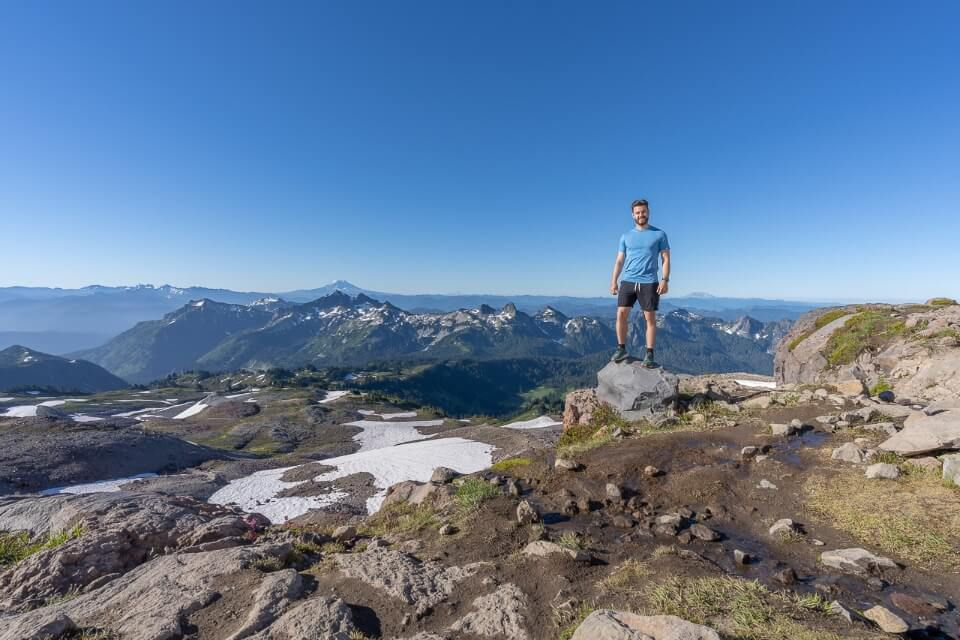 Reaching the eastern side of the summit at skyline trail in mt rainier national park