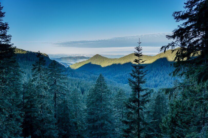 Valley views at dawn with huge shadows cast over forest