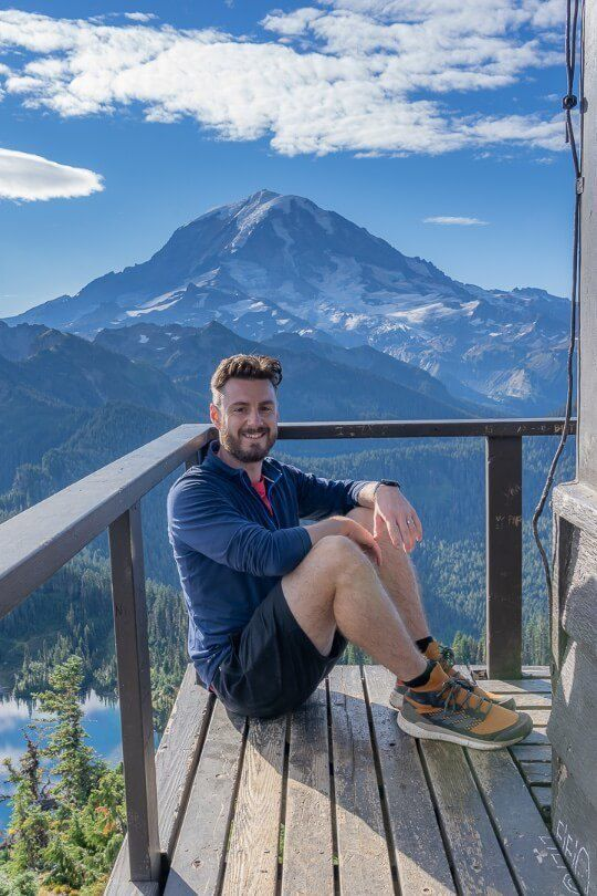 Where Are Those Morgans at the summit of Tolmie Peak Trail sat on fire watchtower overlooking mount rainier and lake eunice