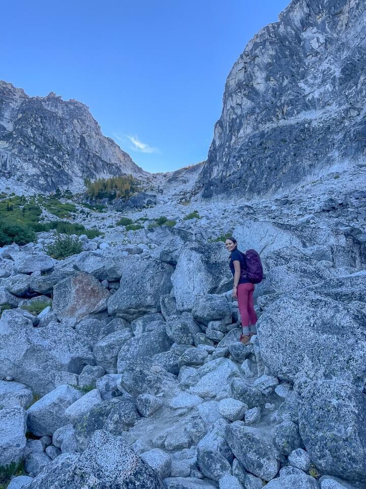 Aasgard Pass from below steep rocky climb