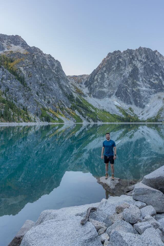 Mark posing for a photo at Colchuck Lake