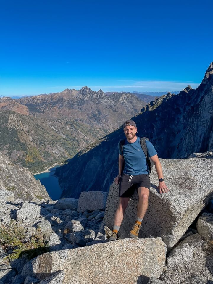 Mark at the top of Aasgard Pass with Colchuck Lake below